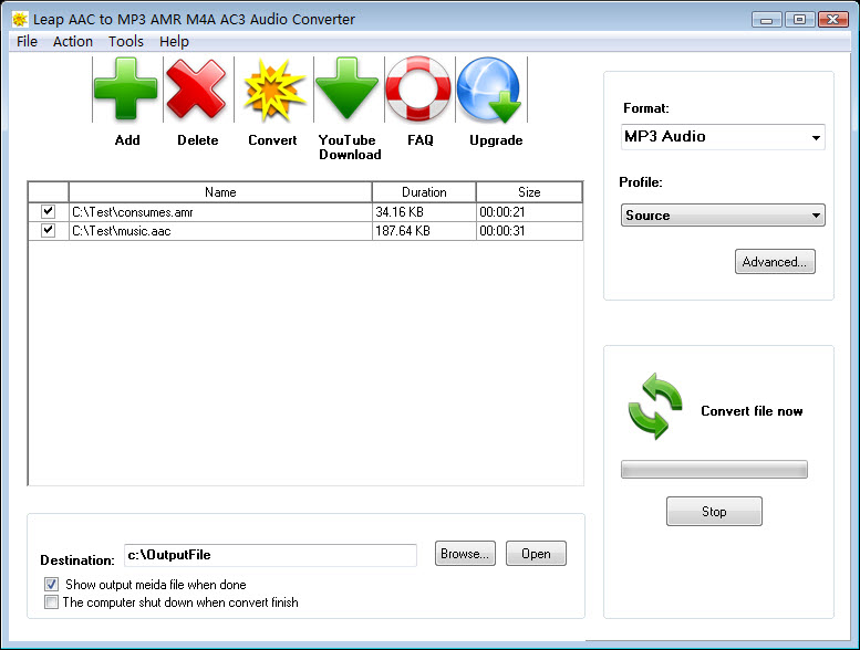 Click to view Leap AAC to MP3 AMR M4A AC3 Converter screenshots