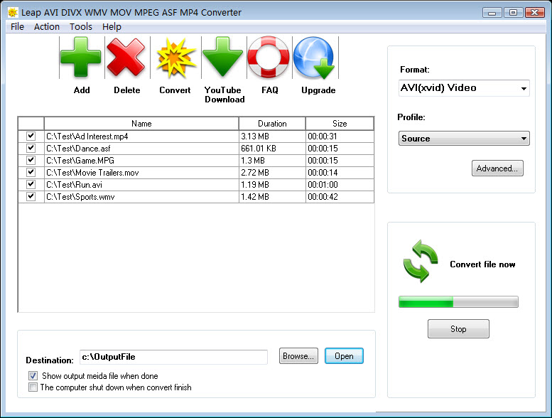 Click to view Leap AVI DIVX WMV MOV MPEG Converter screenshots