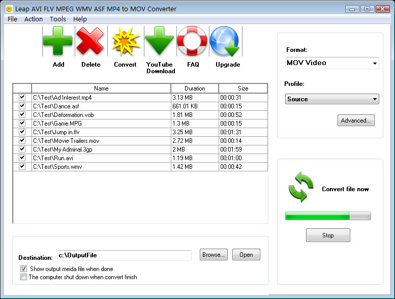 Leap AVI FLV MPEG WMV to MOV Converter