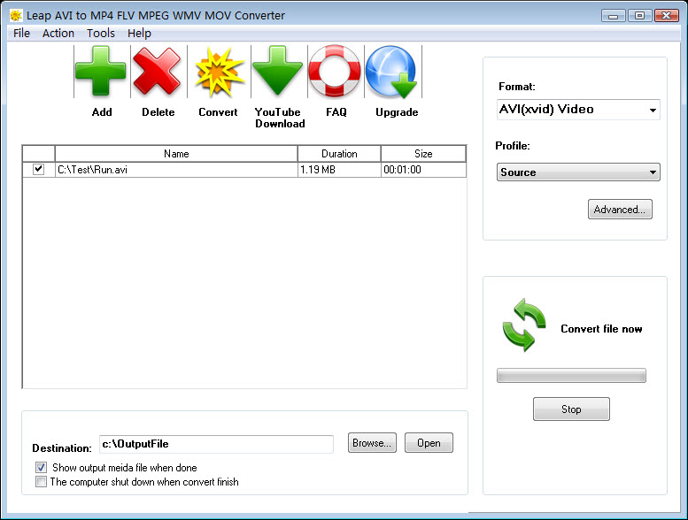Leap AVI to MP4 FLV MPEG WMV Converter