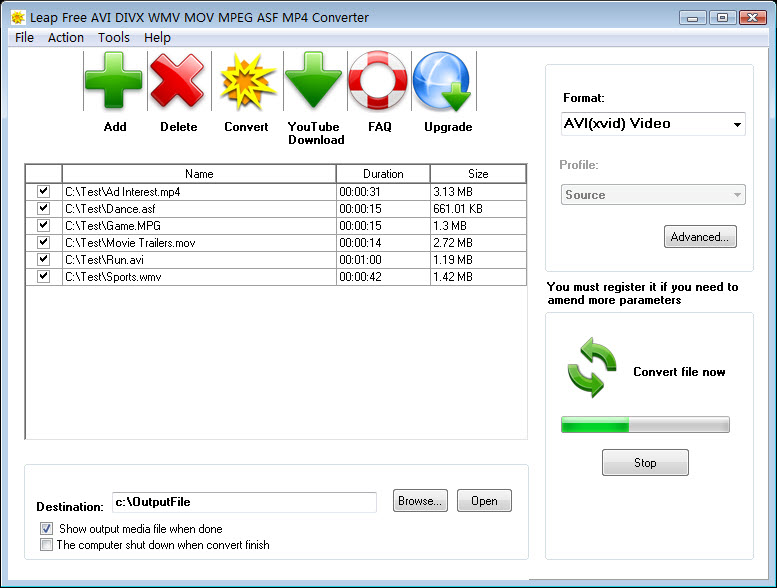 Leap Free AVI DIVX WMV MOV Converter