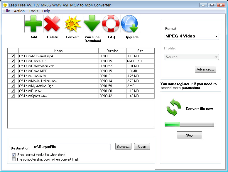 Leap Free AVI FLV MPEG WMV to MP4