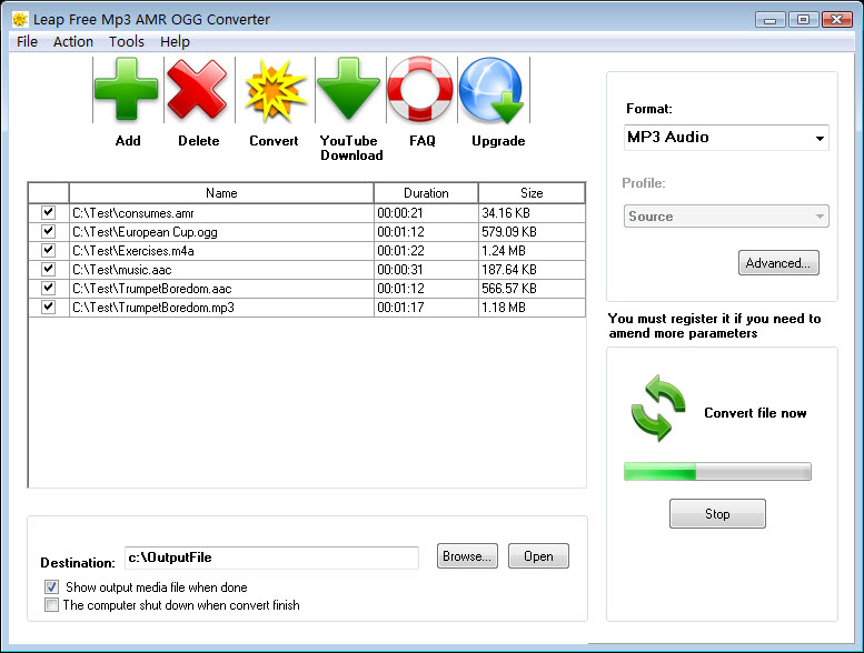 Leap Free MP3 AMR OGG Converter Screen shot