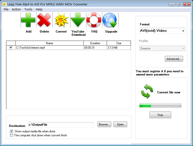 Click to view Leap Free MP4 to AVI FLV MPEG Converter screenshots