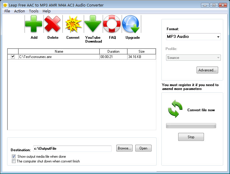 Leap Free AAC to MP3 AMR M4A AC3 Audio