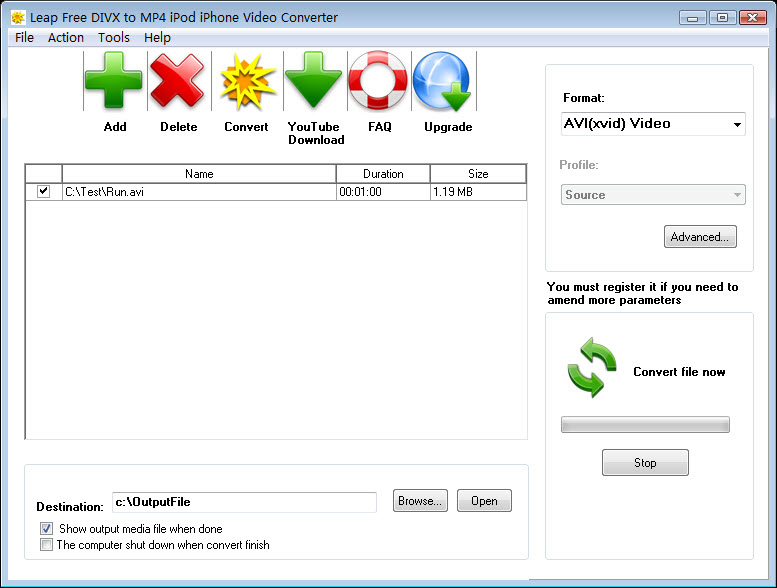 Leap Free DIVX to MP4 iPod Video 4.0 full