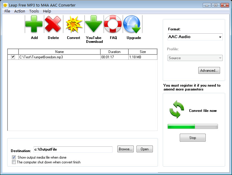 Leap Free MP3 to M4A AAC Converter Screen shot