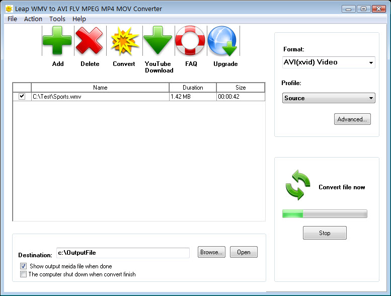 Leap WMV to AVI FLV MPEG MP4 Converter