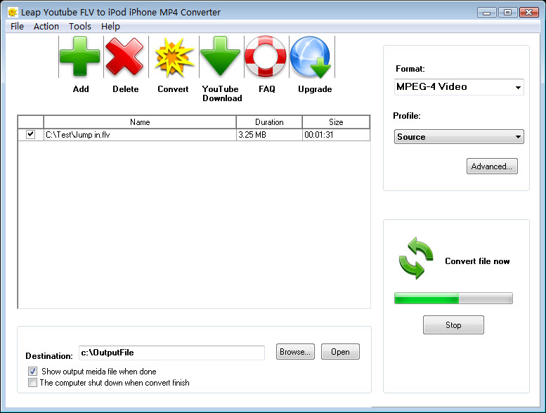 Leap Youtube FLV to iPod MP4 Converter Screen shot